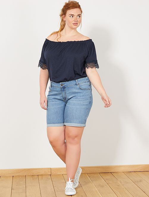Short en jean avec revers                                                                 denim Grande taille femme