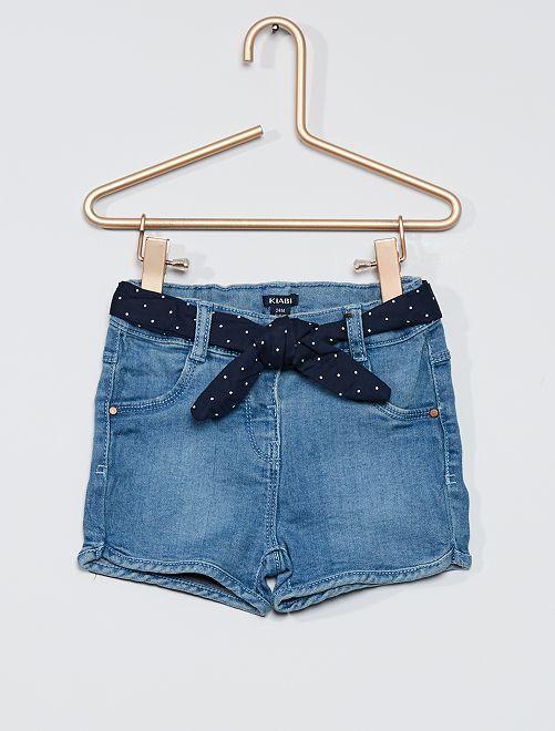 Short en jean ceinture pois                             stone