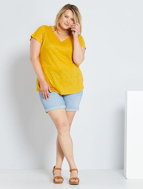 Short en jean                                                                             délavé