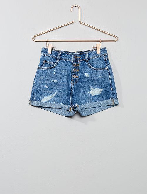 Short en jean destroy                                         bleu clair Fille adolescente