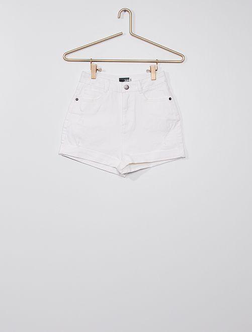 Short en jean éco-conçu                             blanc