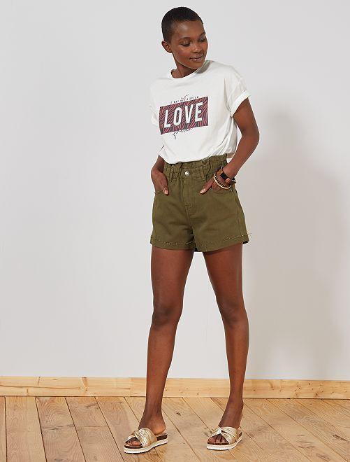 Short en jean élastiqué                                                     kaki