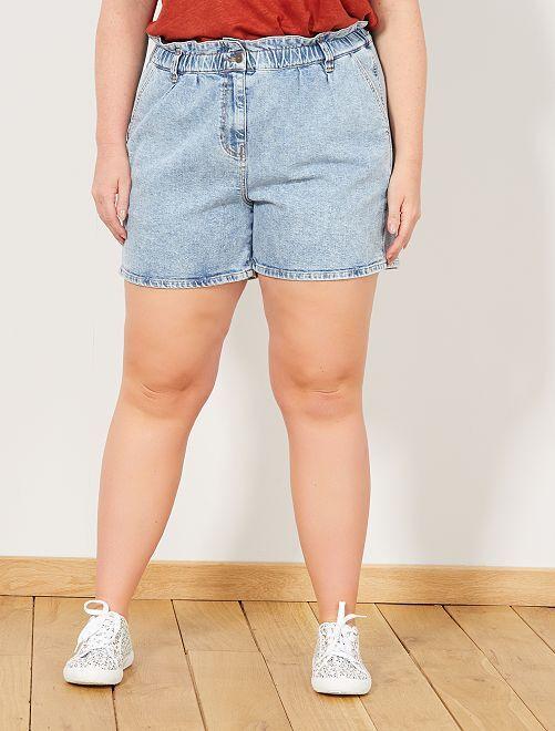 8e0a5fecd3 Short en jean taille élastique Grande taille femme - bleu - Kiabi ...