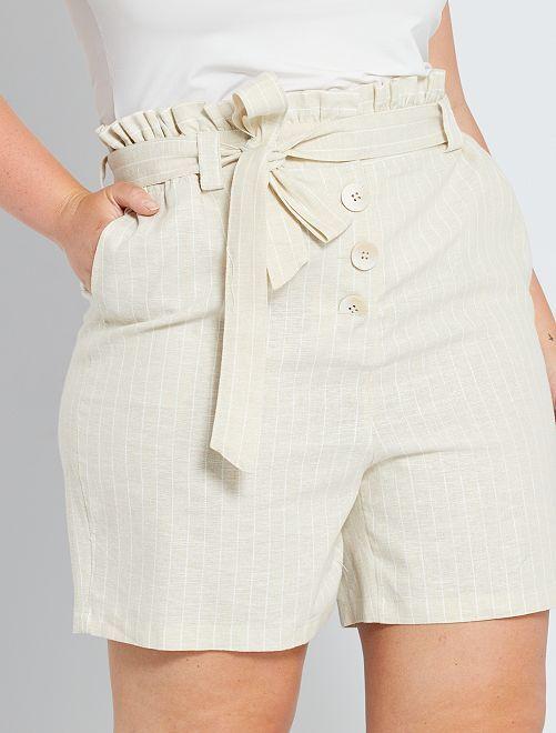 Short en lin et coton                             beige