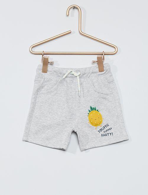 Short en molleton imprimé 'ananas' en relief                             gris