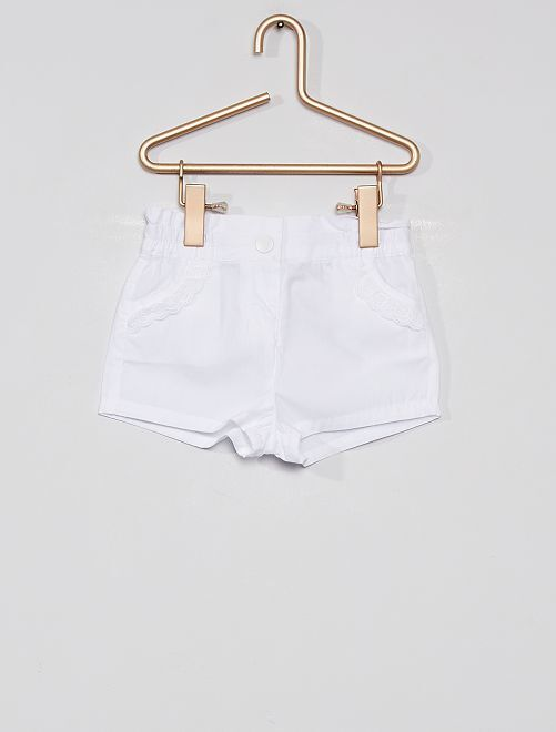 Short en popeline éco-conçu                                                                                                                 blanc