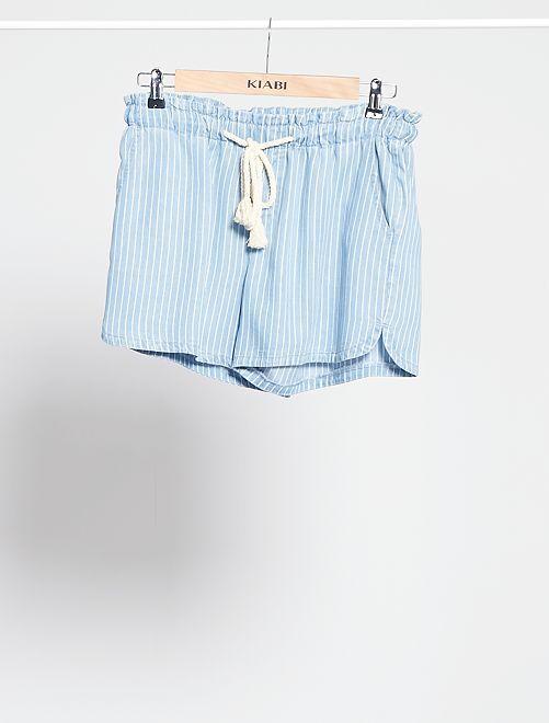 Short en tencel avec ceinture cordelette                                                                                         bleu