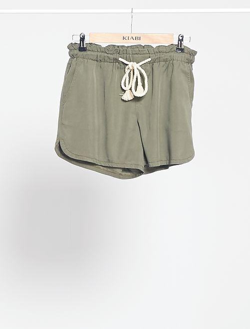 Short en tencel avec ceinture cordelette                                                                                         kaki