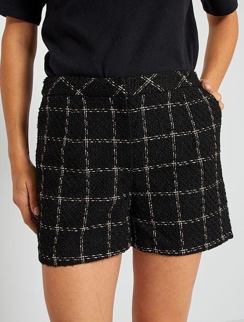 Short en tweed à carreaux                             noir