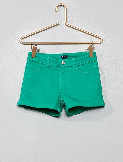 Short en twill avec revers                                                                 vert