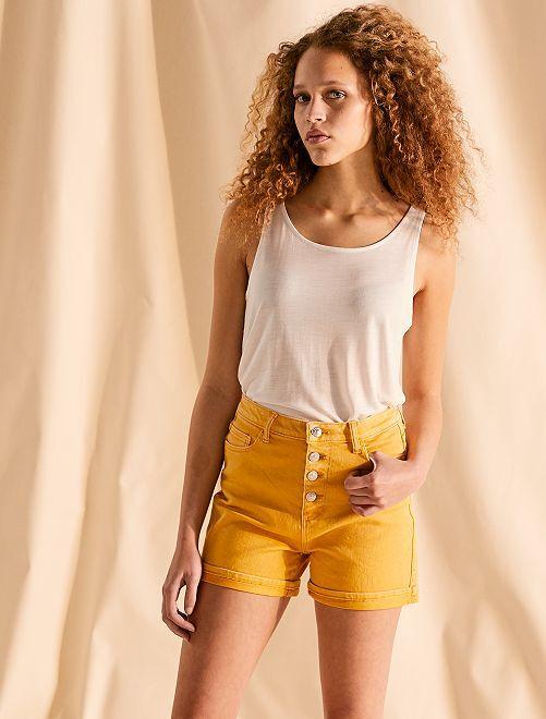 Short en twill braguette boutonnée                                                                                                                 jaune moutarde Femme