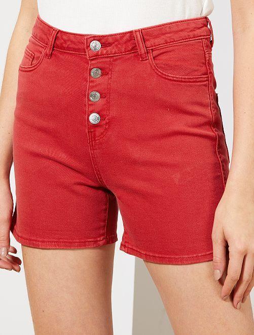 Short en twill braguette boutonnée                                                                                         rouge