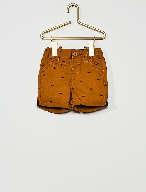 Short en twill                                                                                                                 marron imprimé
