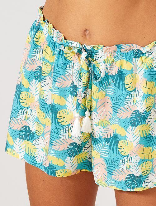 Short fluide 'palmes'                                                                 turquoise
