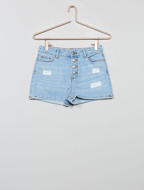 Short jean taille haute                             triple stone