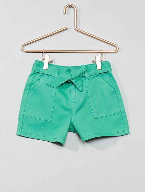 Short large avec ceinture                                         vert Fille