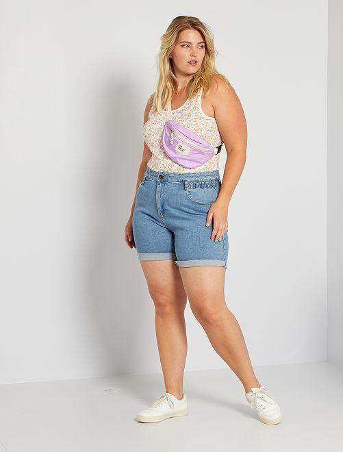 Short large en jean                                         bleu