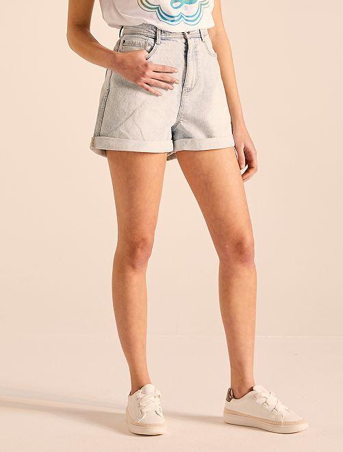Short mom en jean                     bleu clair