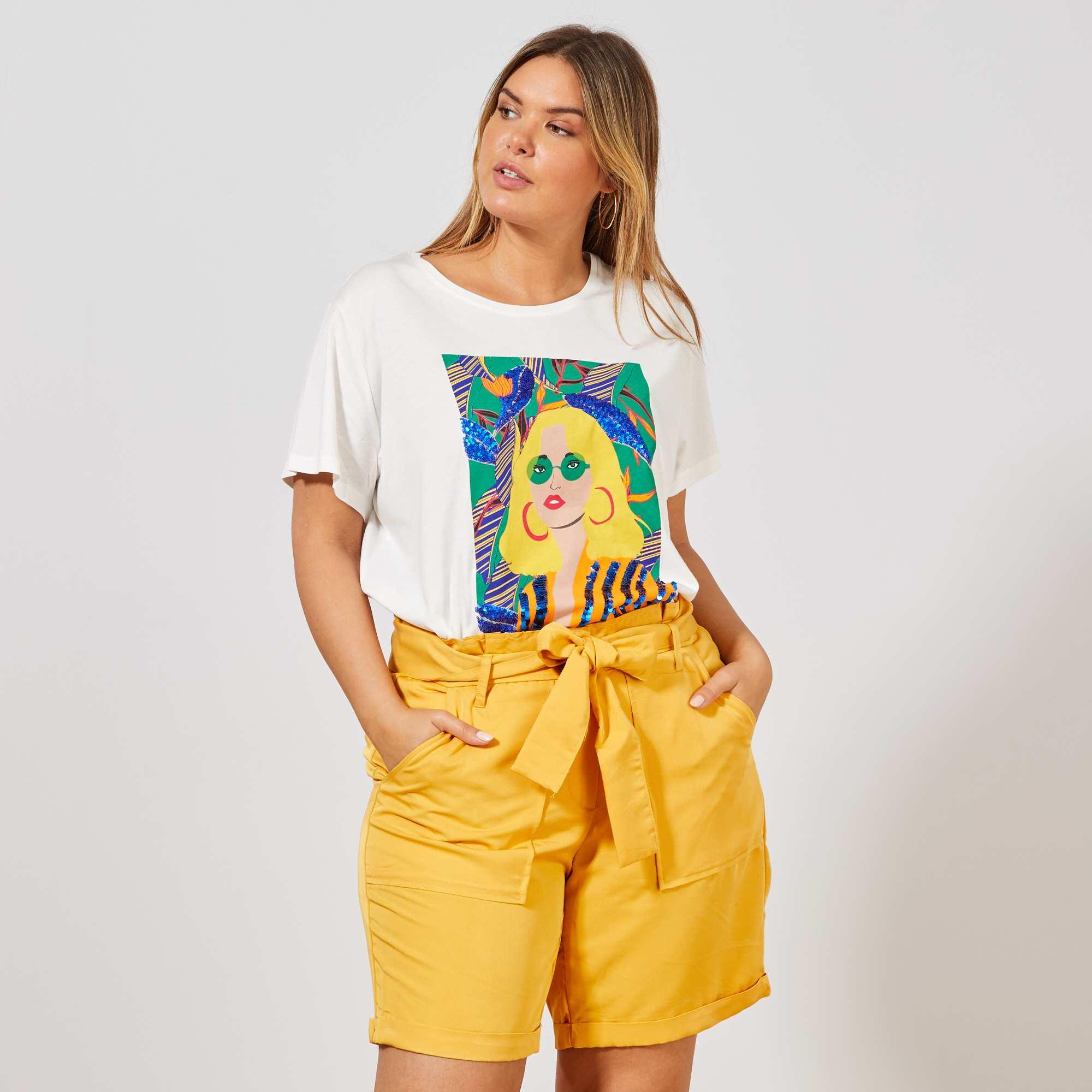 0d243cdc21f7b Short paperbag fluide Grande taille femme - jaune - Kiabi - 18,00€