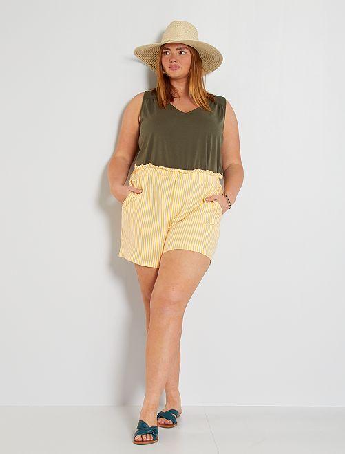 Short rayé éco-conçu                                                     jaune/blanc