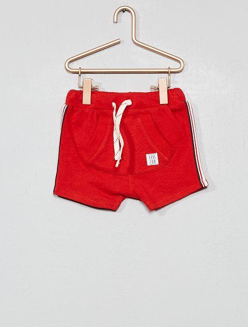 Short sarouel à bandes côtés                     rouge