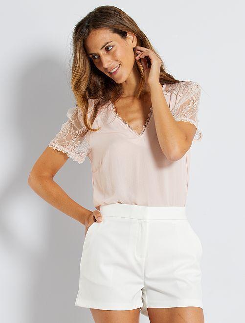 Short taille haute                                                     blanc