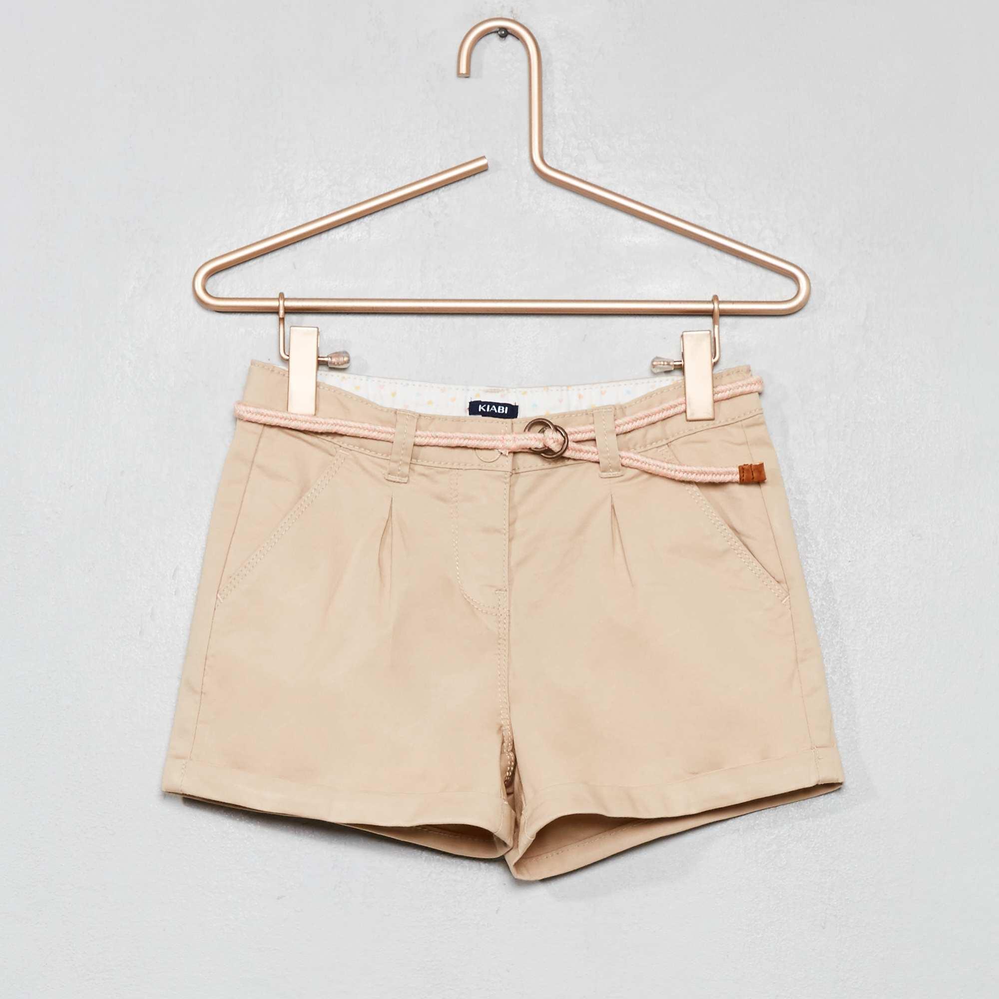 532a8a360e9 Short uni + ceinture tressée Fille - beige - Kiabi - 10