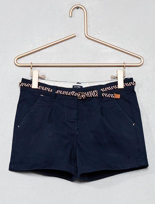 Short uni + ceinture tressée                                                                                 bleu marine Fille