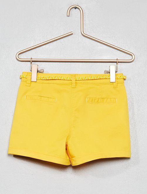 3eef7d1ad172e Short uni + ceinture tressée Fille - orange - Kiabi - 8,00€