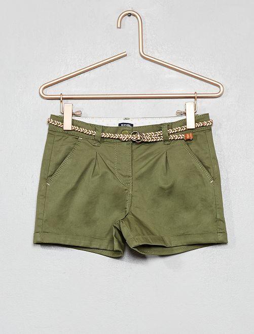f45af892d085a Short uni + ceinture tressée Fille - kaki - Kiabi - 10,00€