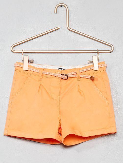 Short uni + ceinture tressée                                                                                                                 orange Fille
