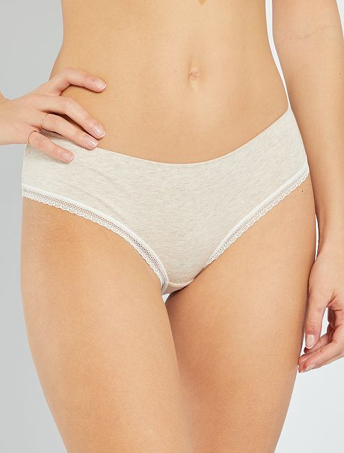Shorty coton galons dentelle                                                                                                                                                                                                                 beige chiné