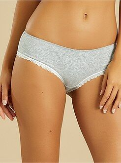Culotte, shorty, string gris - Shorty coton galons dentelle