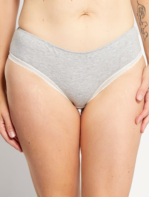 Shorty coton galons dentelle                                                                                                                                                                                         gris chiné
