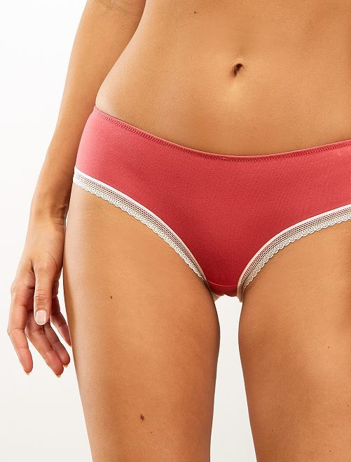 Shorty coton galons dentelle                                                                                                                                                                                                     rose