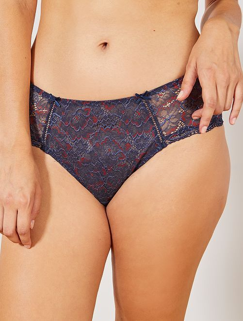 Shorty en dentelle florale 'Bestform'                                                                 bleu denim/rouge Lingerie du s au xxl