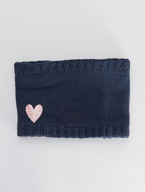 Snood 'cœur'                             bleu marine