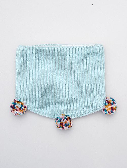 Snood en maille tricot à pompons                             bleu