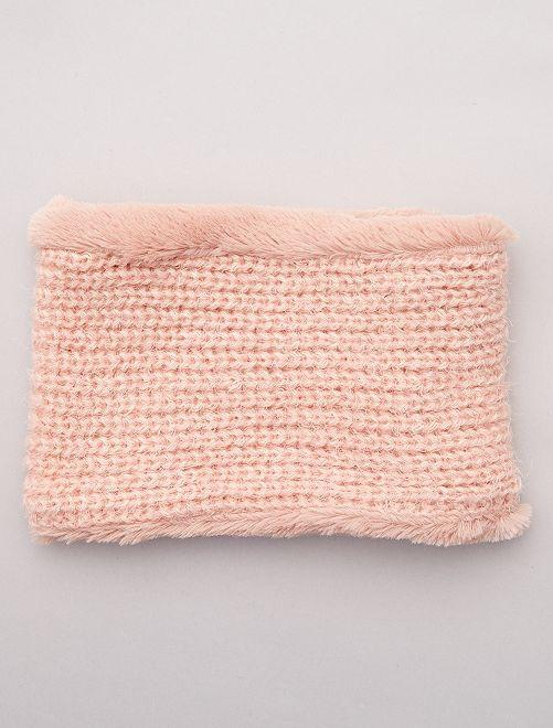 Snood en tricot et polaire                                                     vieux rose