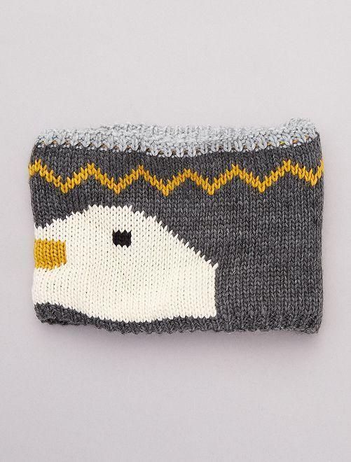 Snood tricot 'pingouin'                             gris