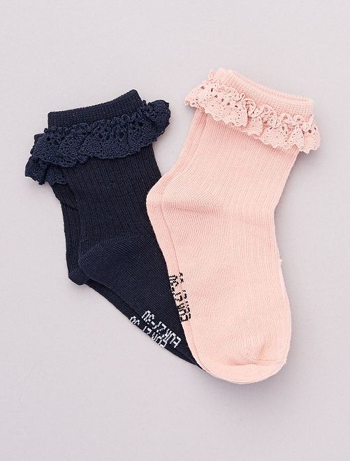 Socquettes de cérémonie                                                     rose/bleu marine