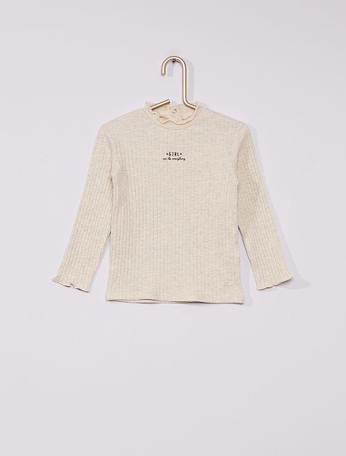 Sous-pull côtelé éco-conçu                                                     beige