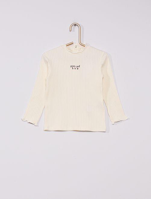 Sous-pull côtelé éco-conçu                                                     blanc