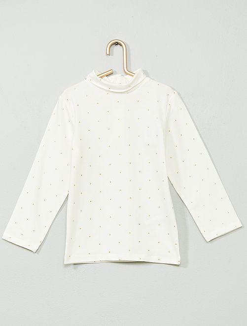 Sous-pull coton bio 'éco-conception'                                                                                                                 blanc/pois