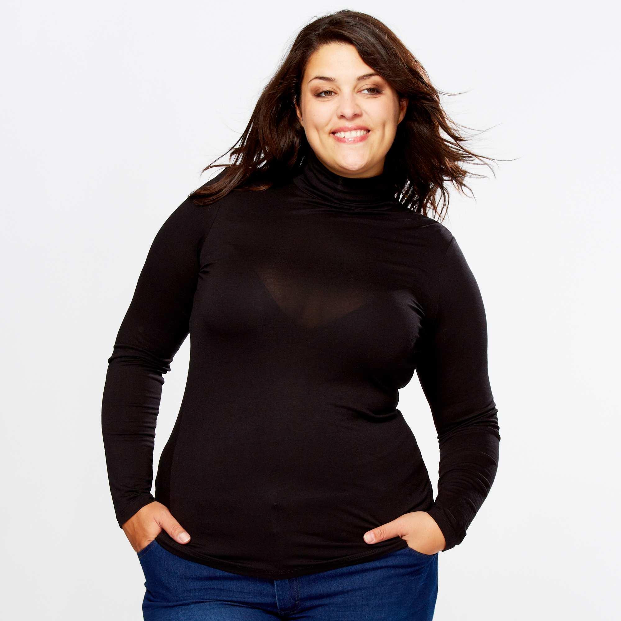 sous pull en jersey grande taille femme noir kiabi 10 00. Black Bedroom Furniture Sets. Home Design Ideas