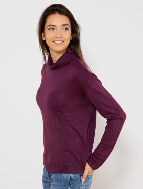Sous-pull en maille fine                                                                                         violet Femme