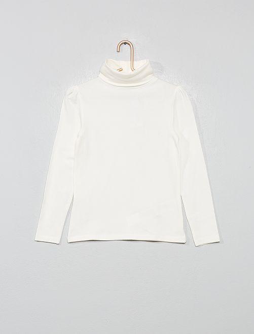 Sous-pull fronces épaules                                                                             blanc Fille