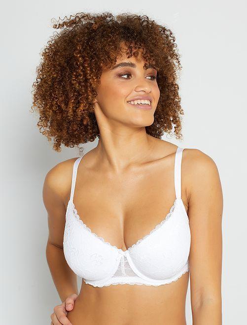 Soutien-gorge ampliforme en dentelle bonnet D&E                                                                                                                                                                             blanc Lingerie du s au xxl