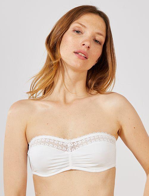 Soutien-gorge bandeau à armatures                                         blanc Lingerie du s au xxl