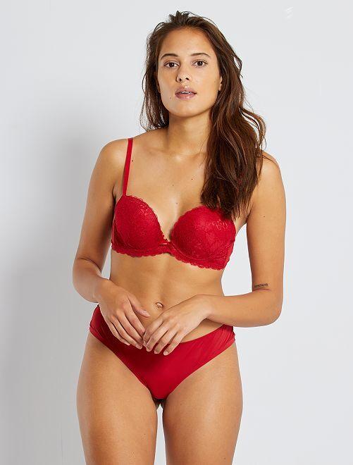 Soutien-gorge plunge paddé                                                                                                                                                     rouge passion